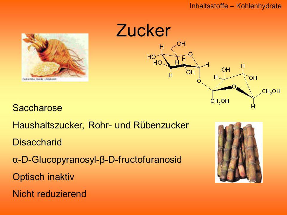 Zucker Saccharose Haushaltszucker, Rohr- und Rübenzucker Disaccharid
