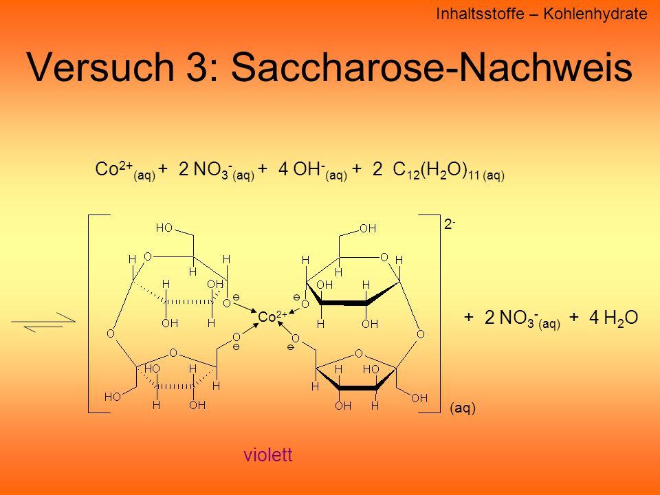 Versuch 3: Saccharose-Nachweis