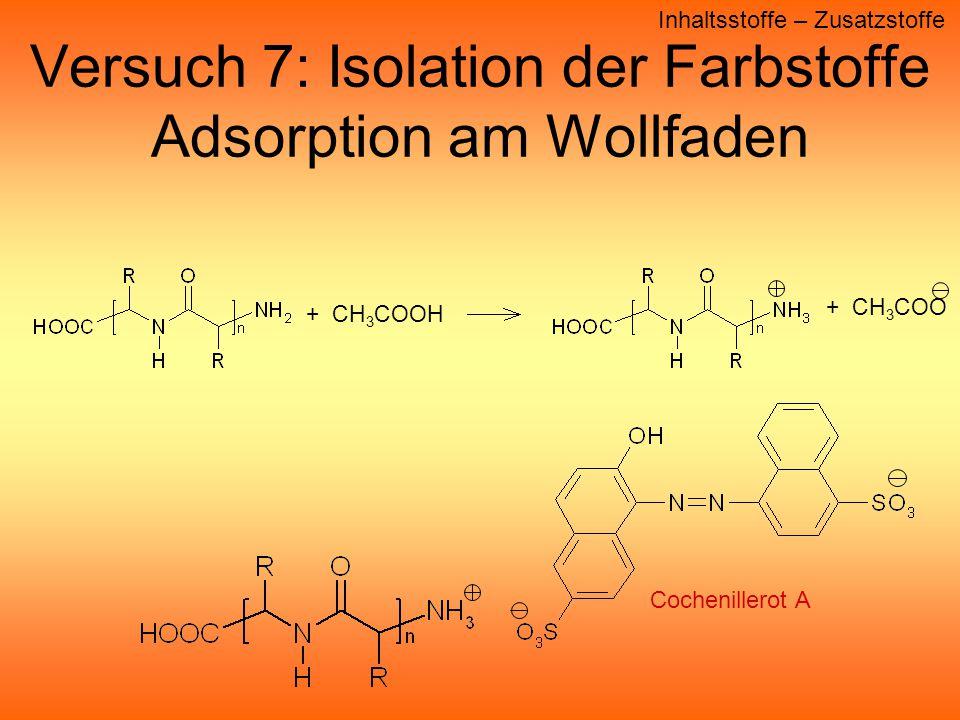 Versuch 7: Isolation der Farbstoffe Adsorption am Wollfaden