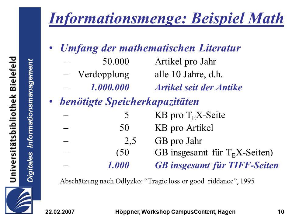 Informationsmenge: Beispiel Math