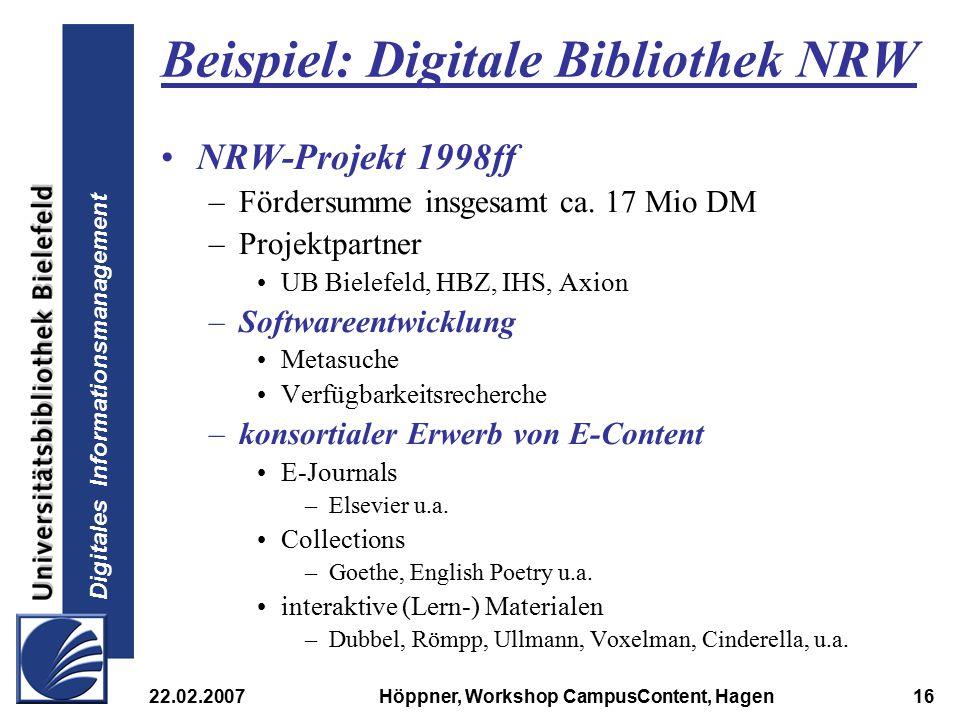 Beispiel: Digitale Bibliothek NRW