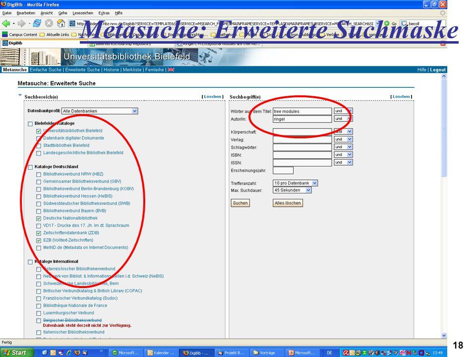 Metasuche: Erweiterte Suchmaske