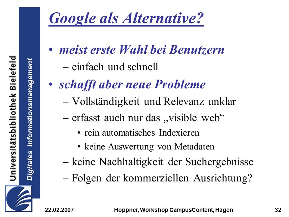 Google als Alternative