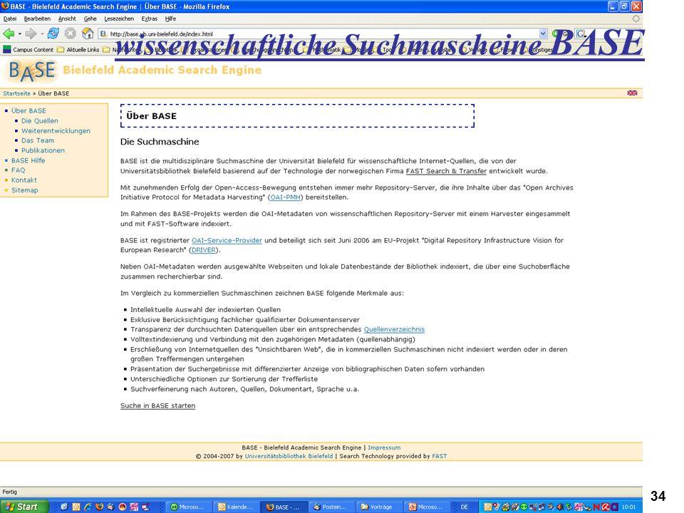 wissenschaftliche Suchmascheine BASE