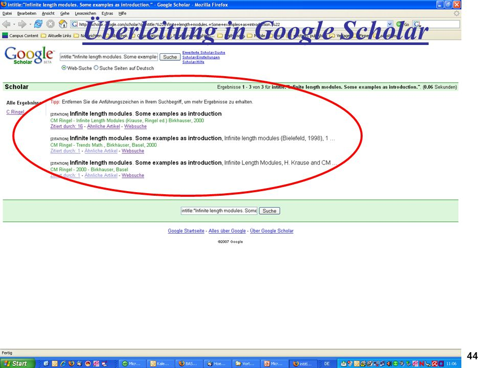 Überleitung in Google Scholar