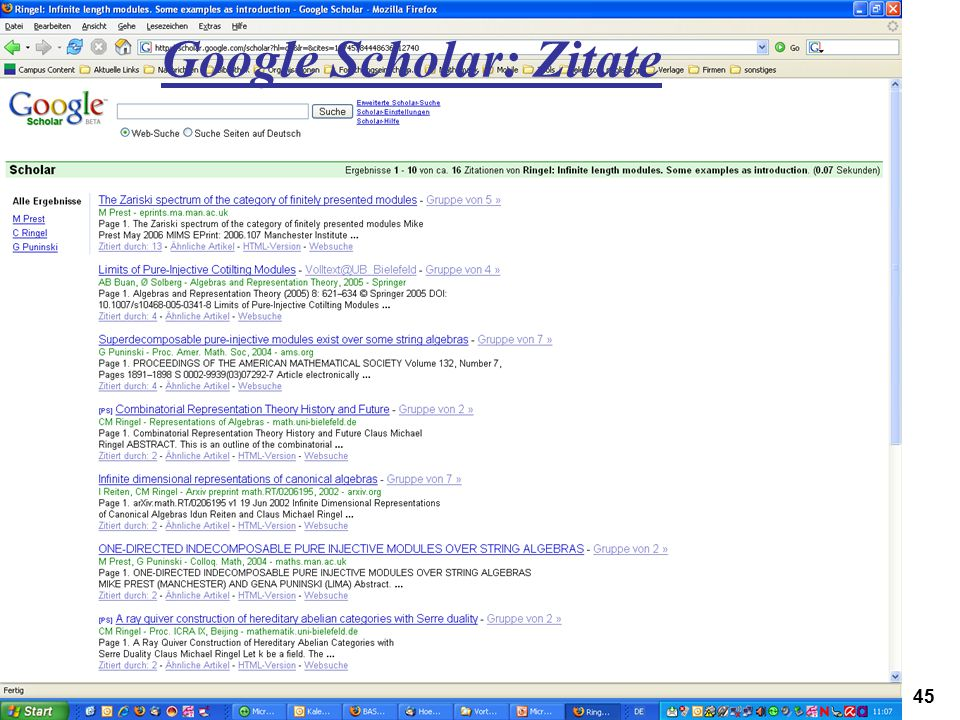 Google Scholar: Zitate