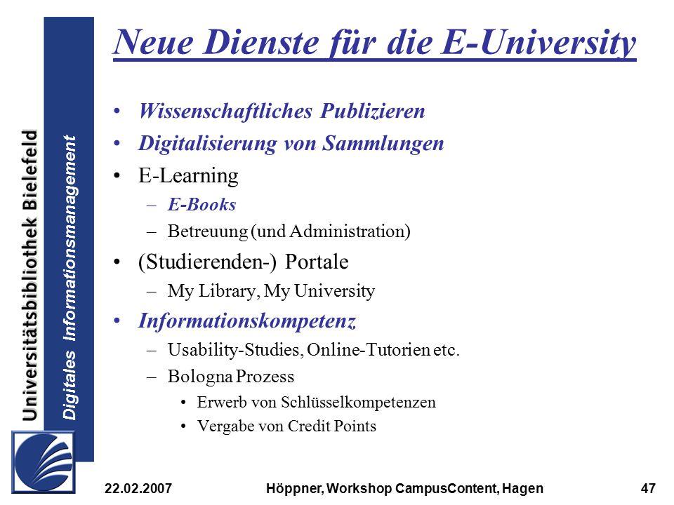 Neue Dienste für die E-University