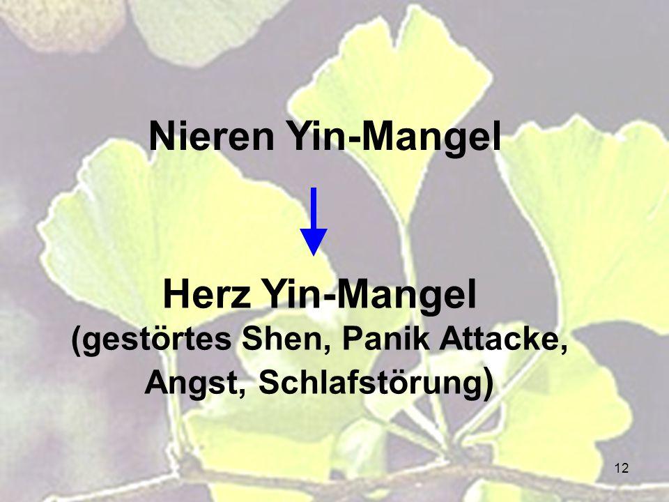 Herz Yin-Mangel (gestörtes Shen, Panik Attacke, Angst, Schlafstörung)