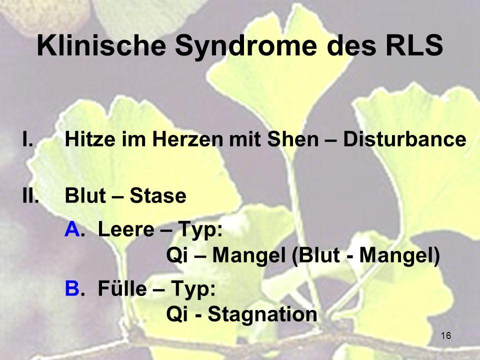 Klinische Syndrome des RLS