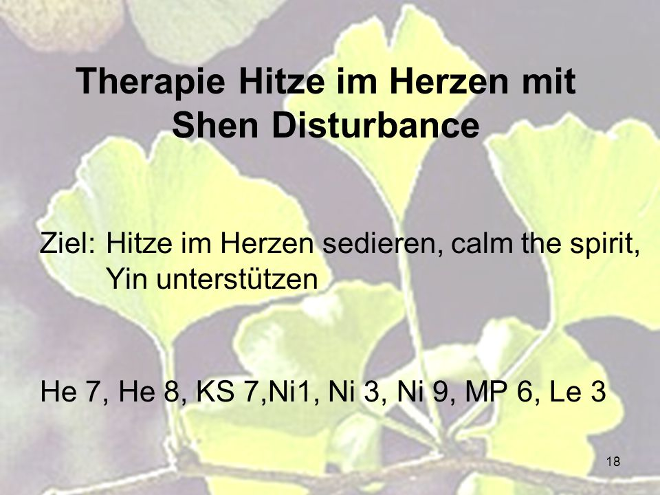 Therapie Hitze im Herzen mit Shen Disturbance