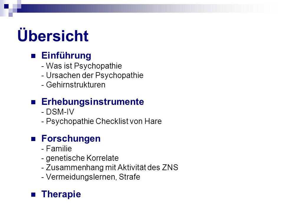 Übersicht Einführung Erhebungsinstrumente Forschungen Therapie