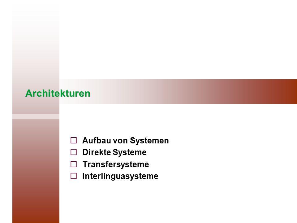 Aufbau von Systemen Direkte Systeme Transfersysteme Interlinguasysteme