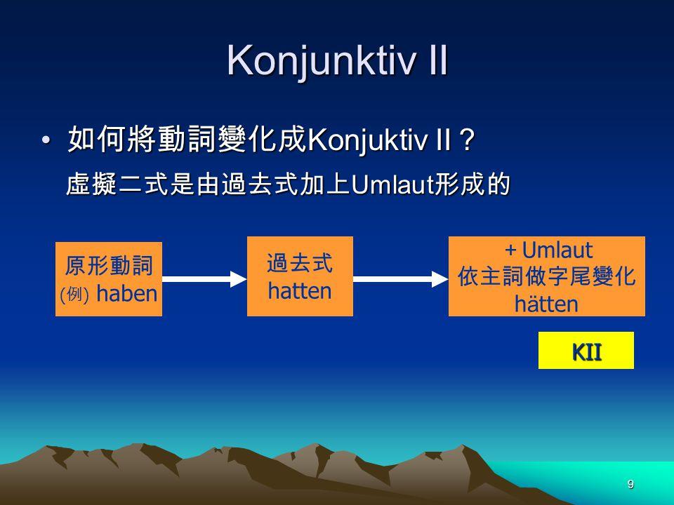 Konjunktiv II 如何將動詞變化成Konjuktiv II? 虛擬二式是由過去式加上Umlaut形成的 +Umlaut 過去式