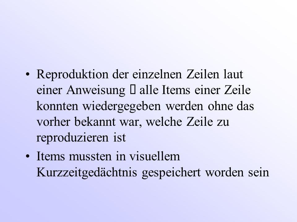 Reproduktion der einzelnen Zeilen laut einer Anweisung ð alle Items einer Zeile konnten wiedergegeben werden ohne das vorher bekannt war, welche Zeile zu reproduzieren ist