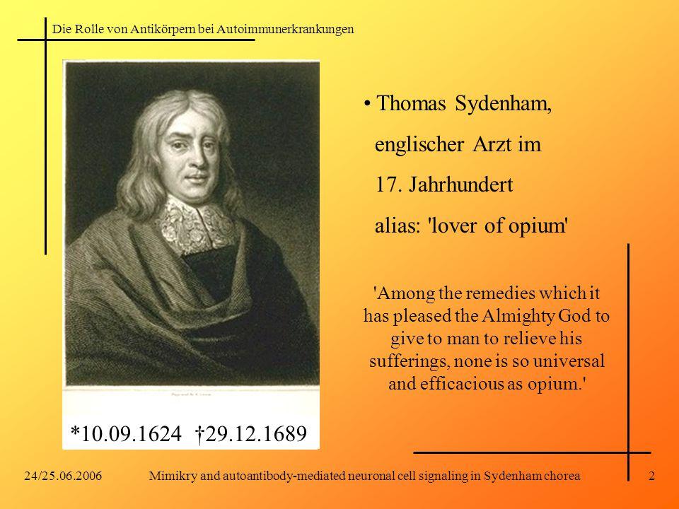 Thomas Sydenham, englischer Arzt im 17. Jahrhundert