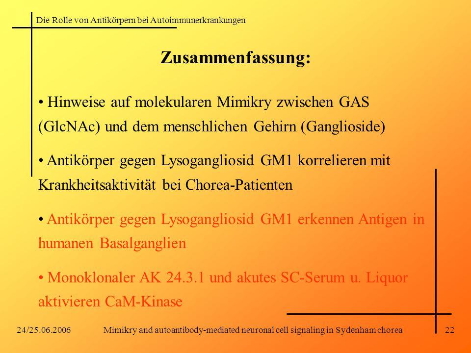 Zusammenfassung: Hinweise auf molekularen Mimikry zwischen GAS (GlcNAc) und dem menschlichen Gehirn (Ganglioside)