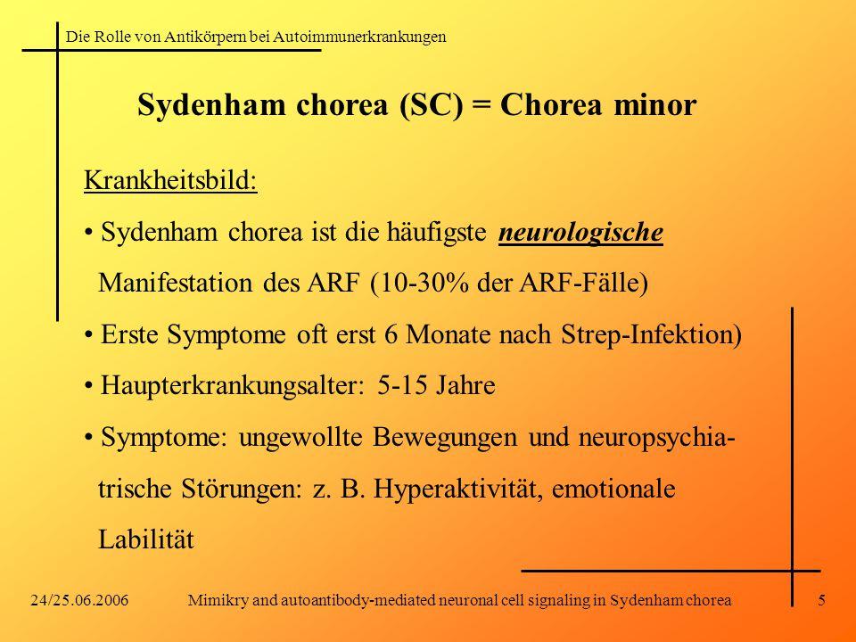 Sydenham chorea (SC) = Chorea minor