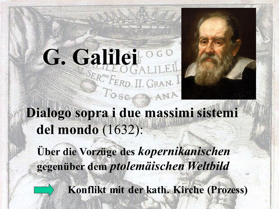G. Galilei Dialogo sopra i due massimi sistemi del mondo (1632):