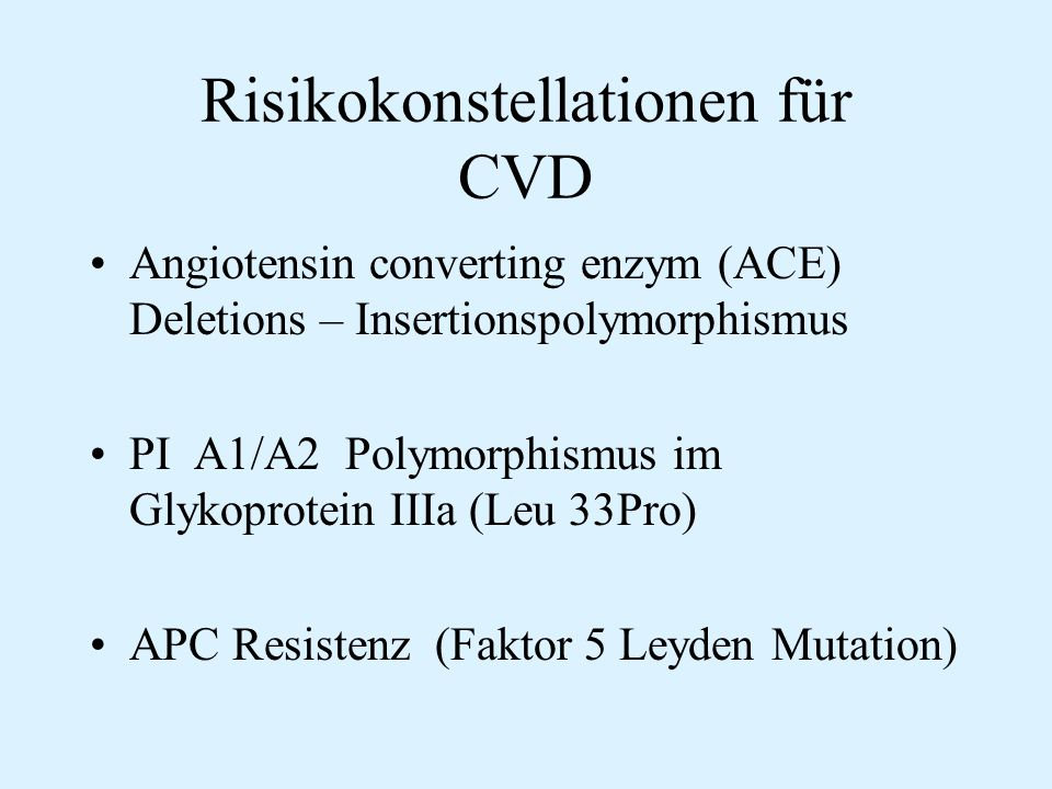Risikokonstellationen für CVD