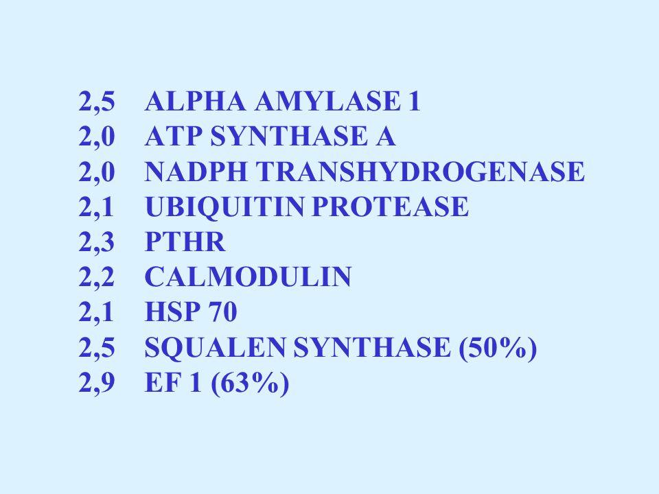 2,5. ALPHA AMYLASE 1 2,0. ATP SYNTHASE A 2,0