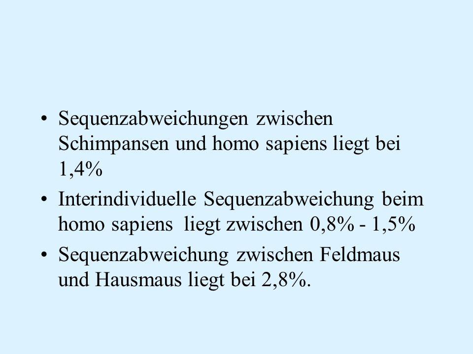 Sequenzabweichungen zwischen Schimpansen und homo sapiens liegt bei 1,4%