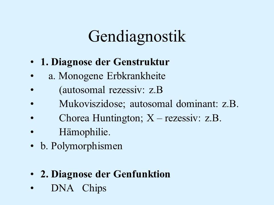 Gendiagnostik 1. Diagnose der Genstruktur a. Monogene Erbkrankheite
