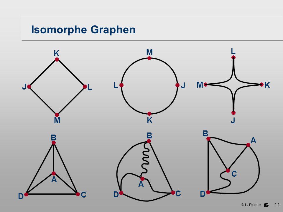 Isomorphe Graphen J M L K J M L K J M L K A B C D A B C D A B C D