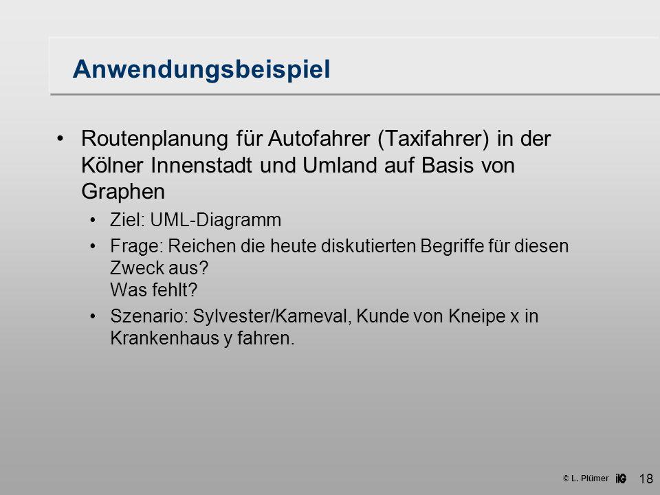 Anwendungsbeispiel Routenplanung für Autofahrer (Taxifahrer) in der Kölner Innenstadt und Umland auf Basis von Graphen.
