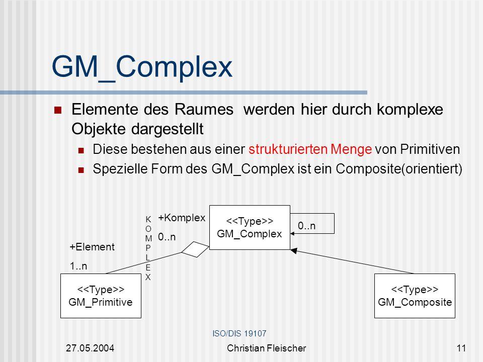 GM_Complex Elemente des Raumes werden hier durch komplexe Objekte dargestellt. Diese bestehen aus einer strukturierten Menge von Primitiven.