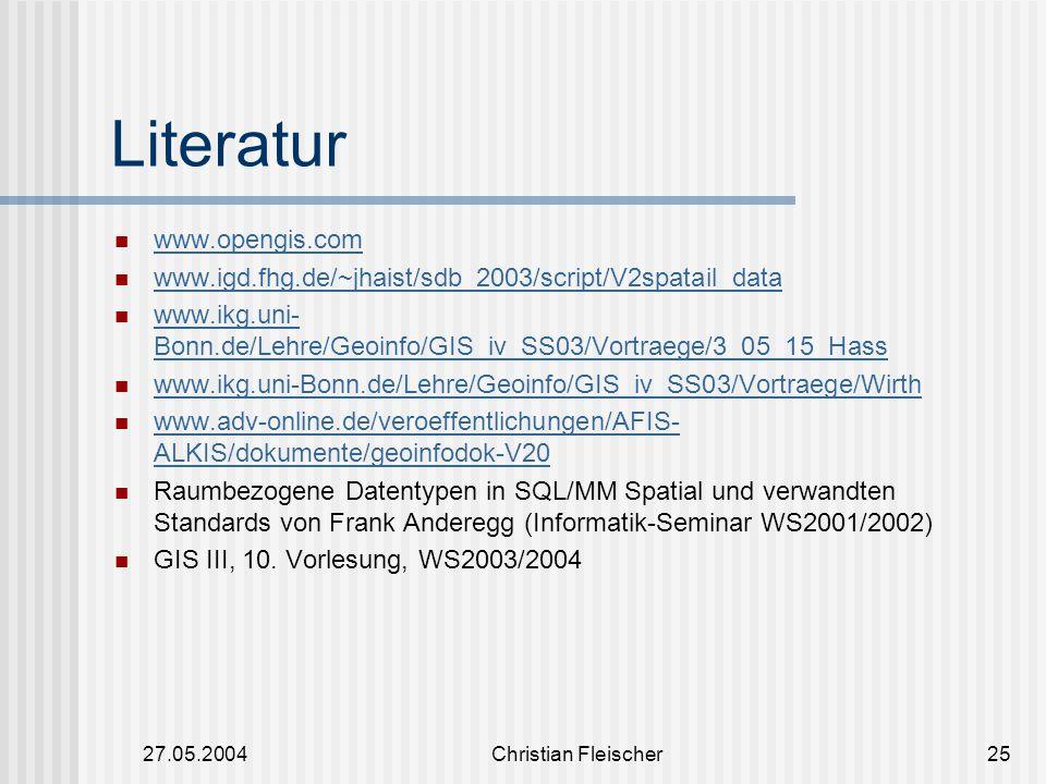 Literatur www.opengis.com