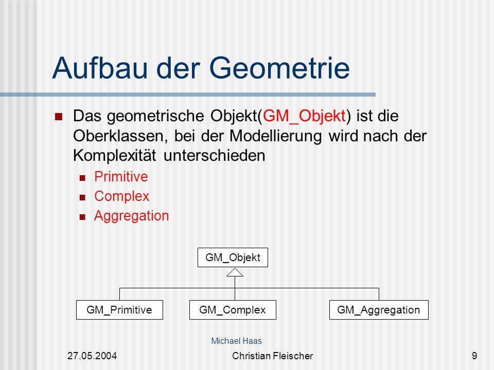 Aufbau der Geometrie Das geometrische Objekt(GM_Objekt) ist die Oberklassen, bei der Modellierung wird nach der Komplexität unterschieden.