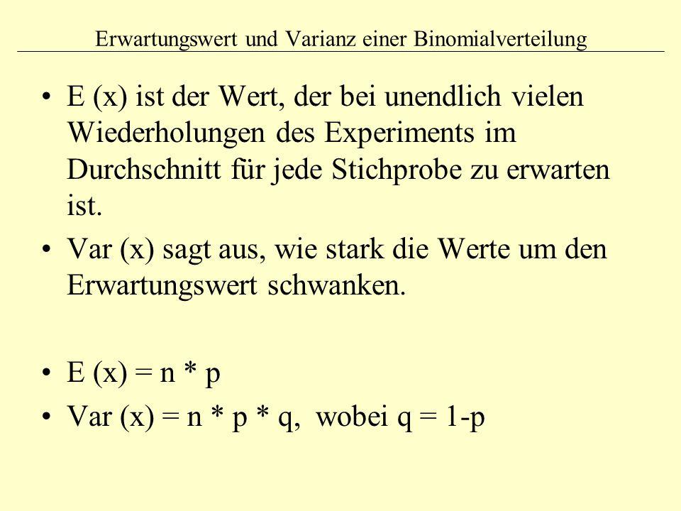 Erwartungswert und Varianz einer Binomialverteilung