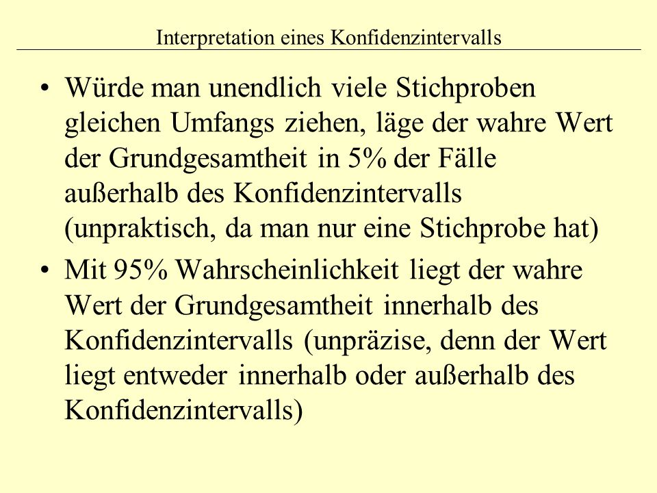 Interpretation eines Konfidenzintervalls