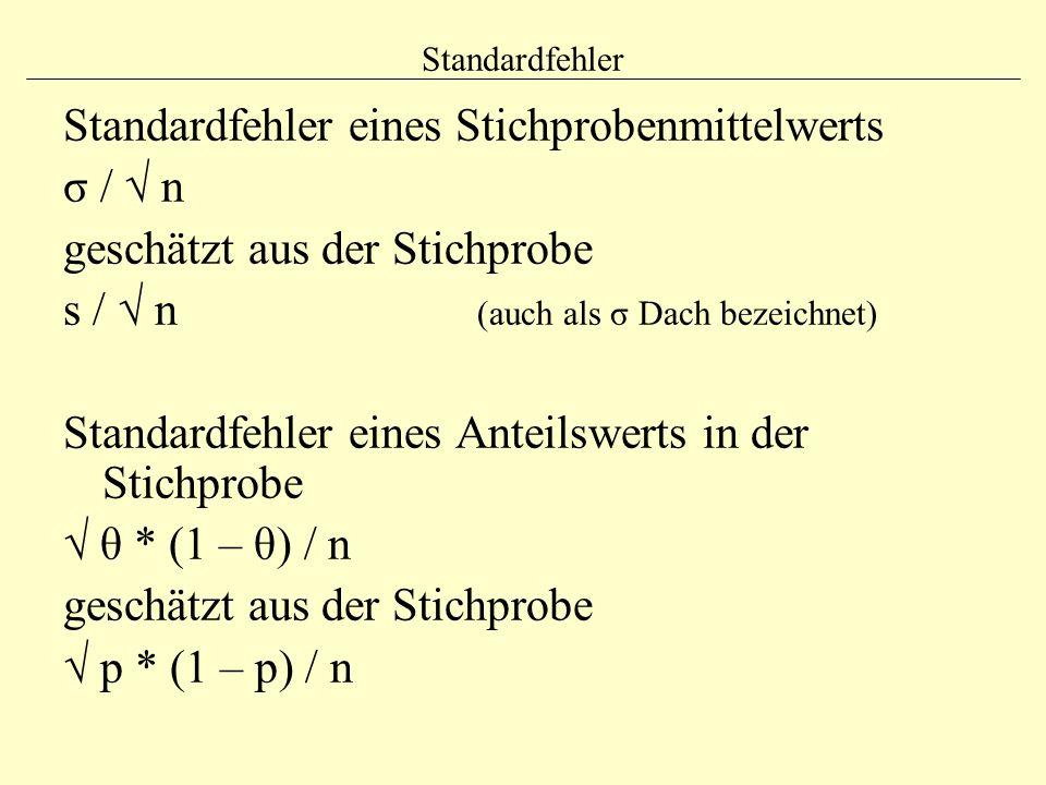 Standardfehler eines Stichprobenmittelwerts σ / √ n