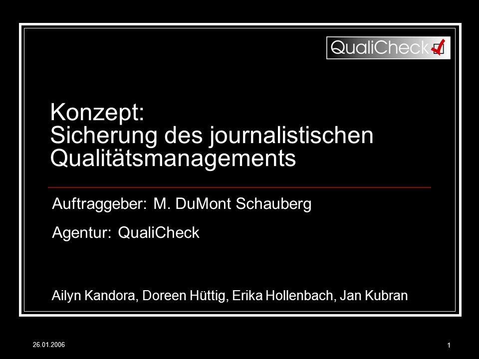 Konzept: Sicherung des journalistischen Qualitätsmanagements