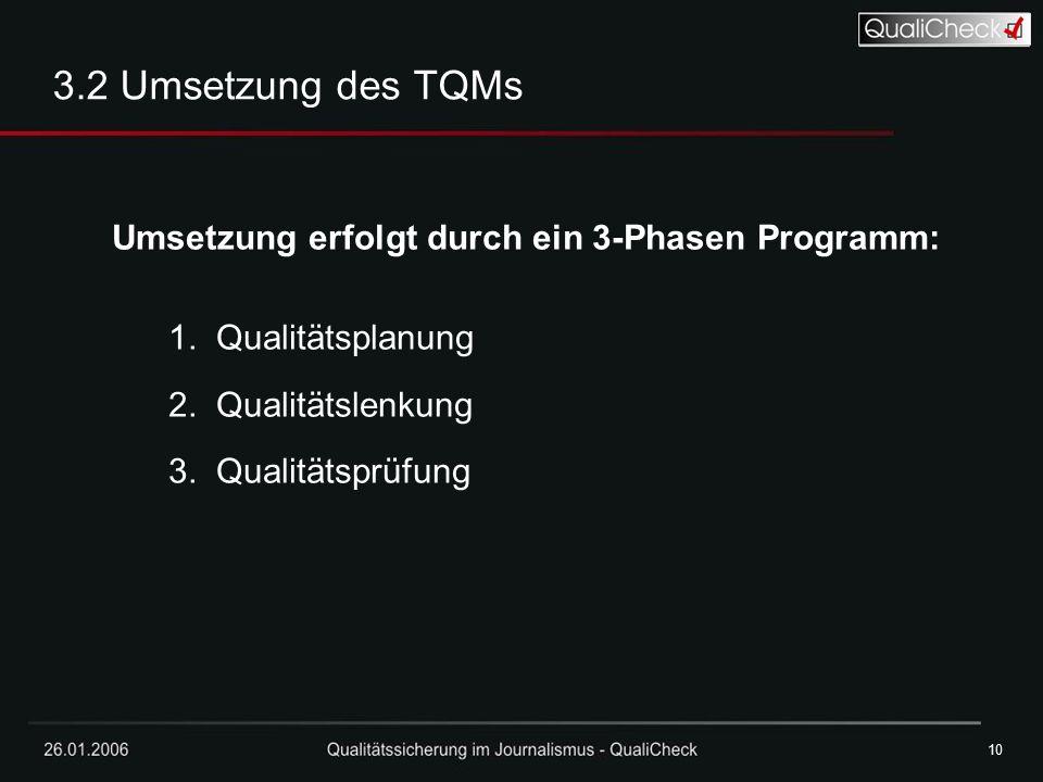 3.2 Umsetzung des TQMs Umsetzung erfolgt durch ein 3-Phasen Programm: