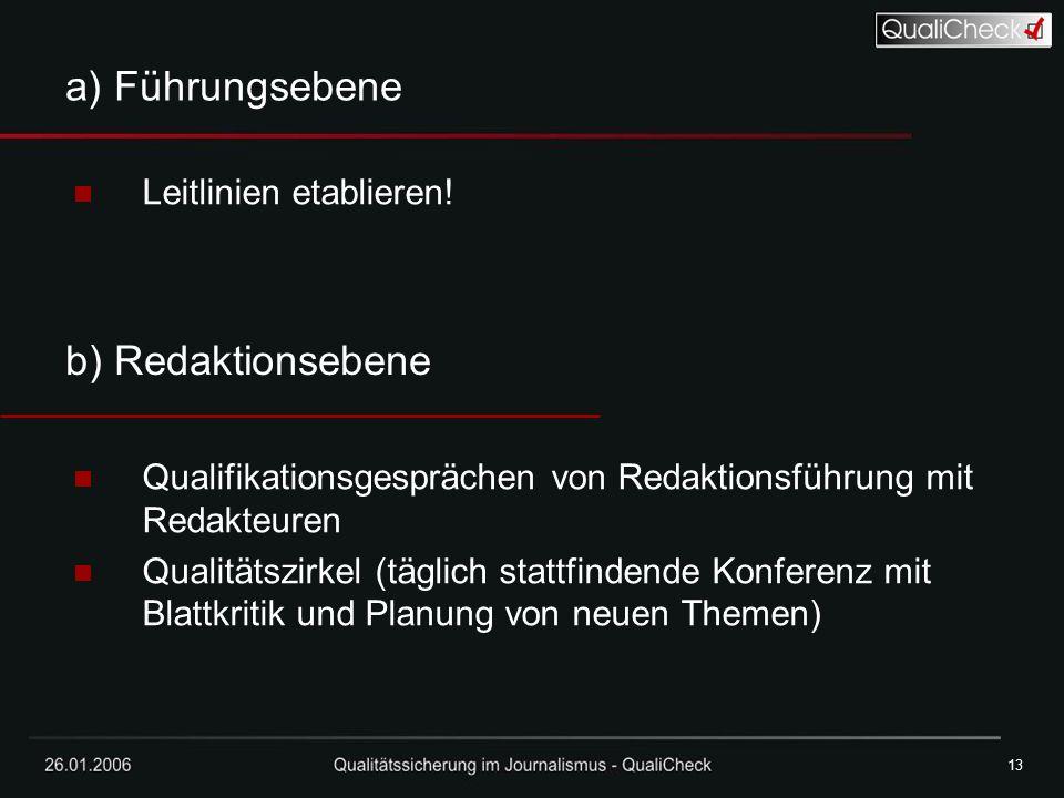 a) Führungsebene b) Redaktionsebene Leitlinien etablieren!