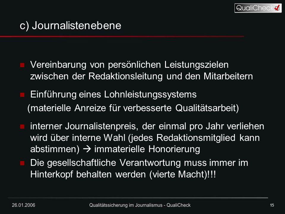 15 c) Journalistenebene. Vereinbarung von persönlichen Leistungszielen zwischen der Redaktionsleitung und den Mitarbeitern.