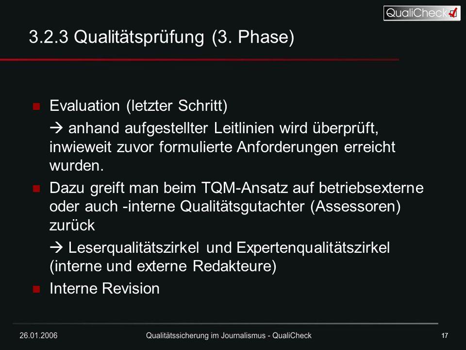 3.2.3 Qualitätsprüfung (3. Phase)
