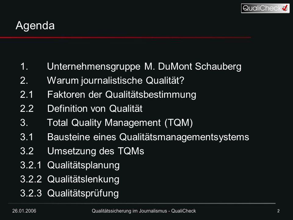 Agenda Unternehmensgruppe M. DuMont Schauberg