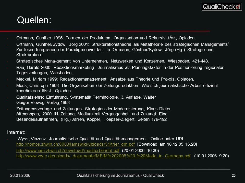 20 Quellen: Ortmann, Günther 1995: Formen der Produktion. Organisation und Rekursivi-tät, Opladen.
