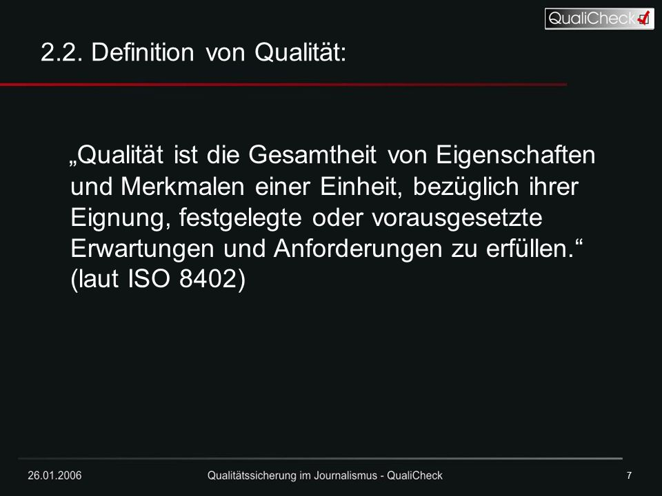 2.2. Definition von Qualität:
