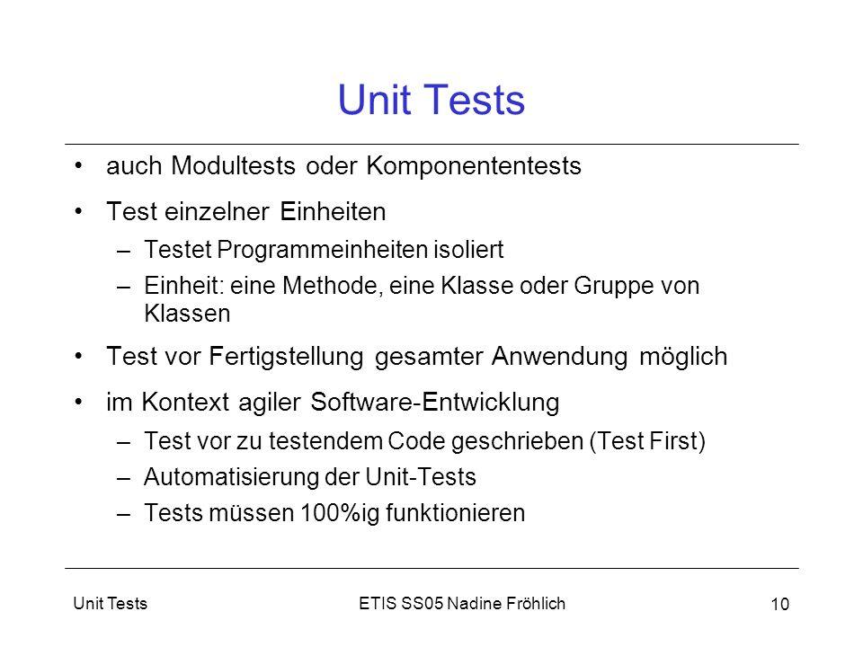 Unit Tests auch Modultests oder Komponententests