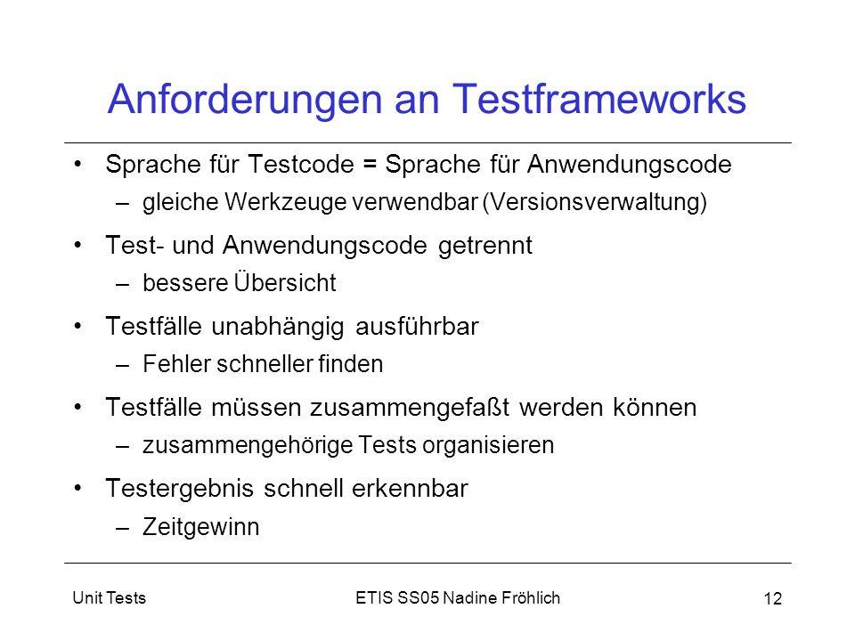 Anforderungen an Testframeworks