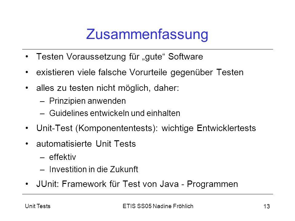 """Zusammenfassung Testen Voraussetzung für """"gute Software"""