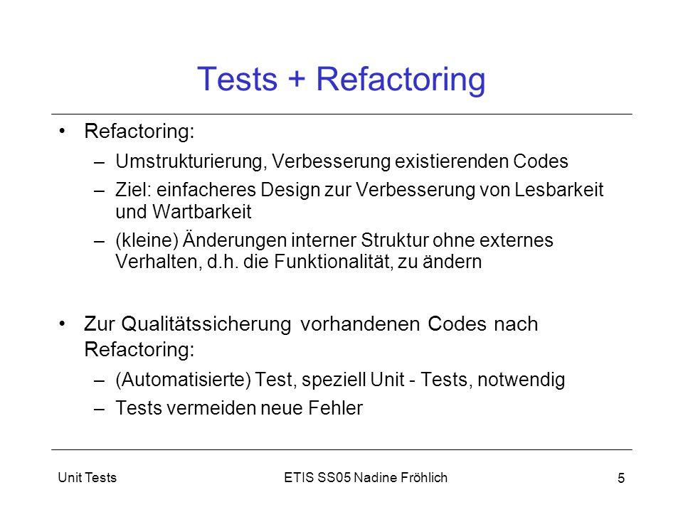 Tests + Refactoring Refactoring: