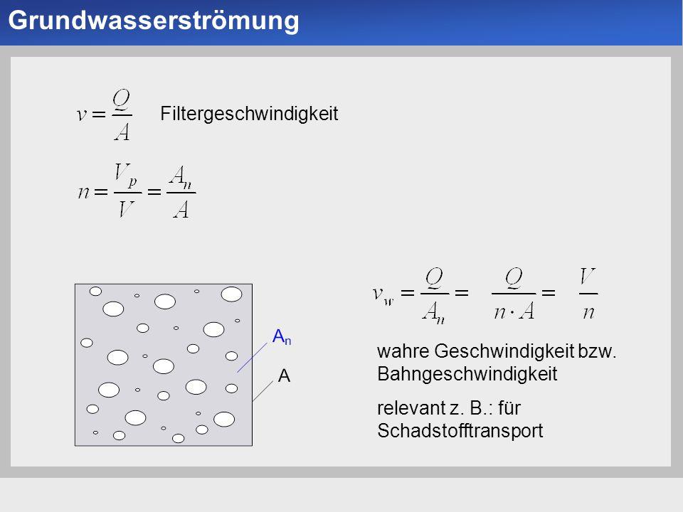 Grundwasserströmung Filtergeschwindigkeit