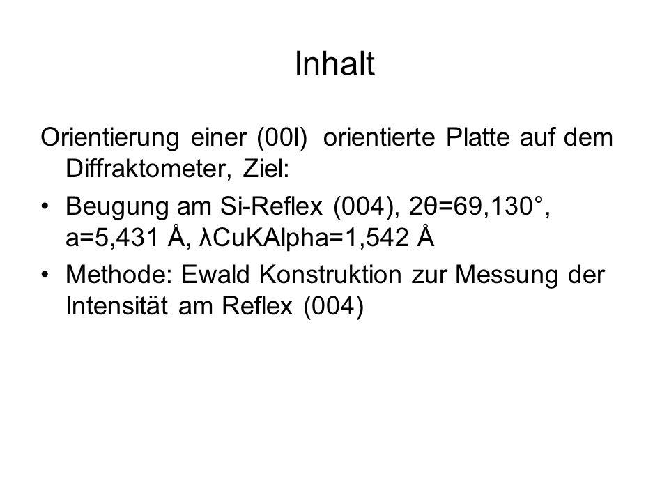 Inhalt Orientierung einer (00l) orientierte Platte auf dem Diffraktometer, Ziel: