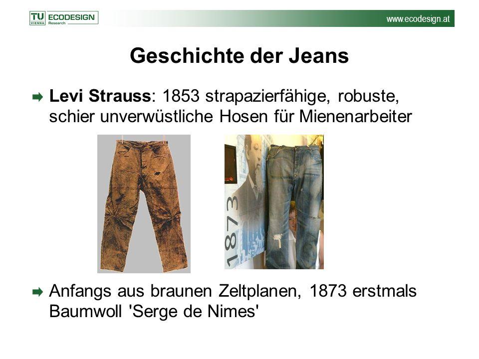 Geschichte der Jeans Levi Strauss: 1853 strapazierfähige, robuste, schier unverwüstliche Hosen für Mienenarbeiter.
