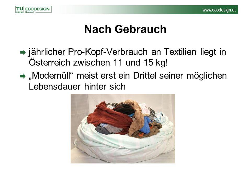 Nach Gebrauch jährlicher Pro-Kopf-Verbrauch an Textilien liegt in Österreich zwischen 11 und 15 kg!